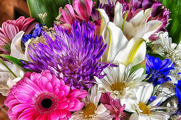 041 Feb 10/12 Today at work was my last day (I start a new job on Monday) and 2 wonderful friends gave me a fantastic bouquet of flowers.  I think I'm pretty much set for the next week.  This one is a HDR from a series of 4 shots put together with NIK software.<br /> <br /> Thanks Candice and Jeff