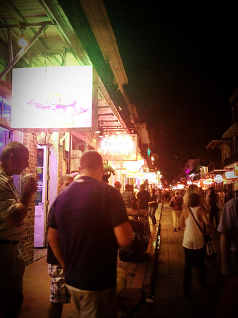 166 Nov 3/12. Bourbon Street at night. Bad Internet connection last night so I'm uploading yesterday's now. Didn't bring a laptop to New Orleans so my dailies will have to be my bad IPhone photos.