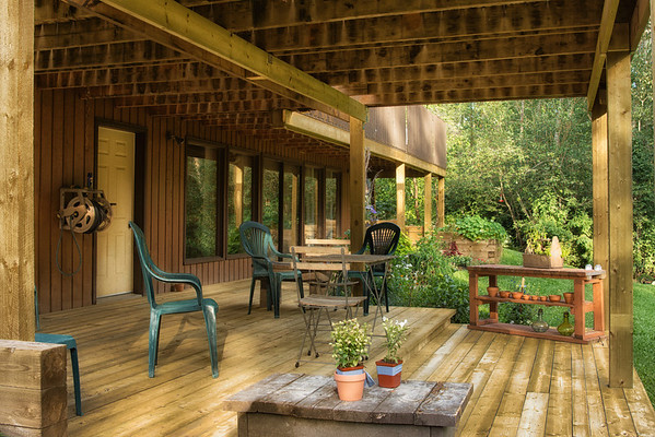 116 Aug 18/12  The wedding is one week from today and the lower deck is ready for guests and relaxing in the shade.