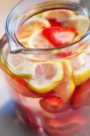 201 Aug 3/13  Every night I make a flavored water to drink the next day.  Just fruit and/or veggies and water, no sugar.  Today's is lemon and strawberries.  Looked too pretty not to take a shot.