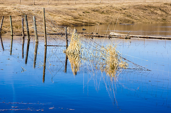 116 Apr 26/13 Each day on my way home from work, when I've taken my own vehicle, I've been travelling a different crossroad between two major roads in search of new barns.  Found nothing on last night's road except a pond of water from the snow melting.