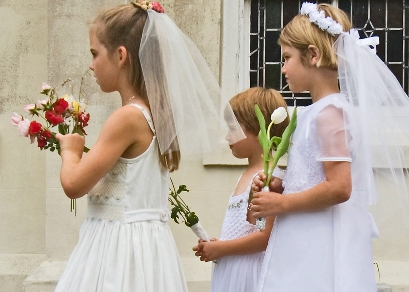 Girls In First Communion Dresses:<br /> bring flowers for Mary, on May Day, 2006