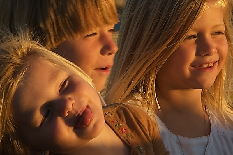 Three Children enjoy a nice sunset after a gorgeous fun day.<br /> for Thursday.