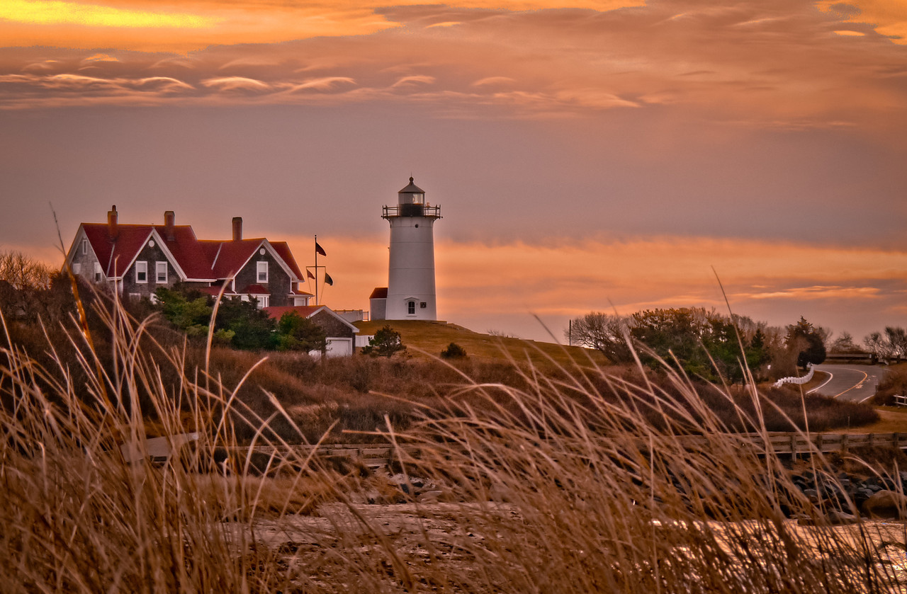 Nobska Lighthouse, Falmouth, Ma<br /> Another 5am sunrise trip to Cape Cod. This one was only an hour away! It was a strange sunrise in that the sun never really came out but the sky had plenty of interesting color.