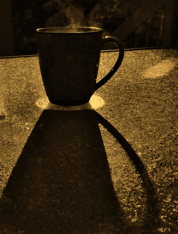 "My morning coffee....<br /> Thought I'd get in on the Thrusday theme challenge of ""shadows"".  I'm housesitting and don't have my usual arsenal of photo tools and post-processing fun available to me here. It was still fun and I can't wait to go see what others posted for it. Have a great day!"