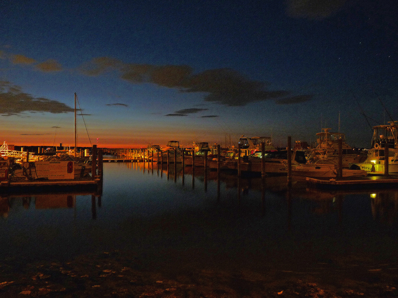 Some night photography at Earl's Marina on West Island, Fairhaven Ma.<br /> This shot was taken around 10pm, an hour and a half after sunset. I made an 8 sec exposure and then had a little PP fun with it.
