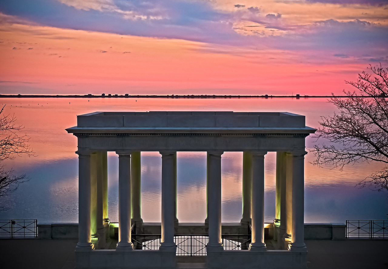 Plymouth Rock Monument<br /> The Plymouth Rock is down inside this portico, at water level. I was drawn to this because of the greenish lighting against the predawn sky. I climbed to the top of Cole's Hill so I could get the horizon line above the portico. Soon enough, the moorings will all be in and the harbor will be filled with boats again.