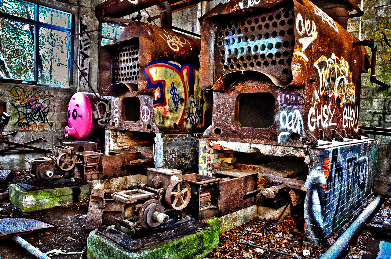 "I spent a few minutes playing with PS HDR pro. I shot this image at the workshop I attended, entitled ""HDR and the Pig"". The pig being one of the boilers in the furnace building at the ammunition plant. I'm thinking about getting the nik bundle. From what I've seen on the website, it looks like it offers a whole lot more creativity, control and ease."