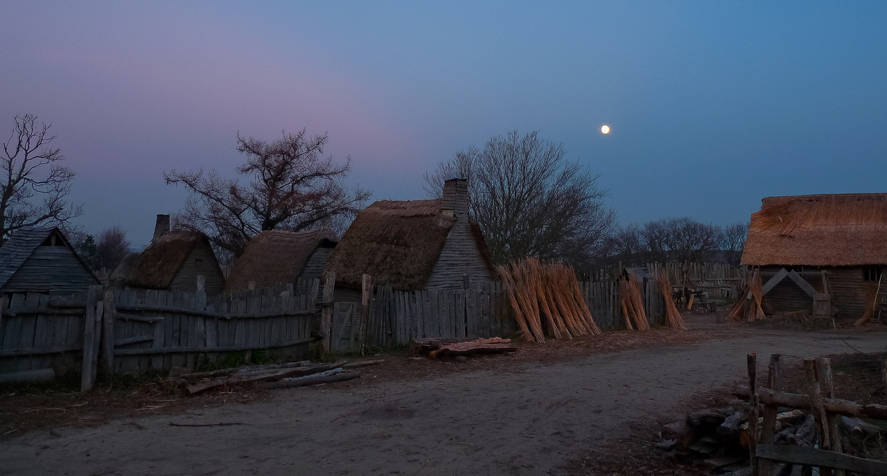 Plimoth Plantation after closing. What a treat with the rising full moon. I used a fence post to steady the camera for this 4 second exposure.