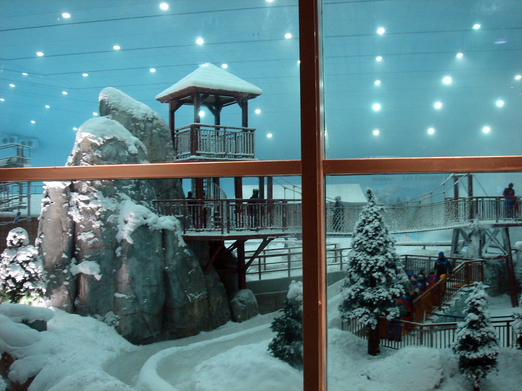 Skiing in Dubai<br /> <br /> The ski slope in the Mall of the Emirates.  Taken through the window.  It was fun to watch Emiratis, who had never seen snow, walk into this area in their national dress (slippers, dish-dash, abaya).
