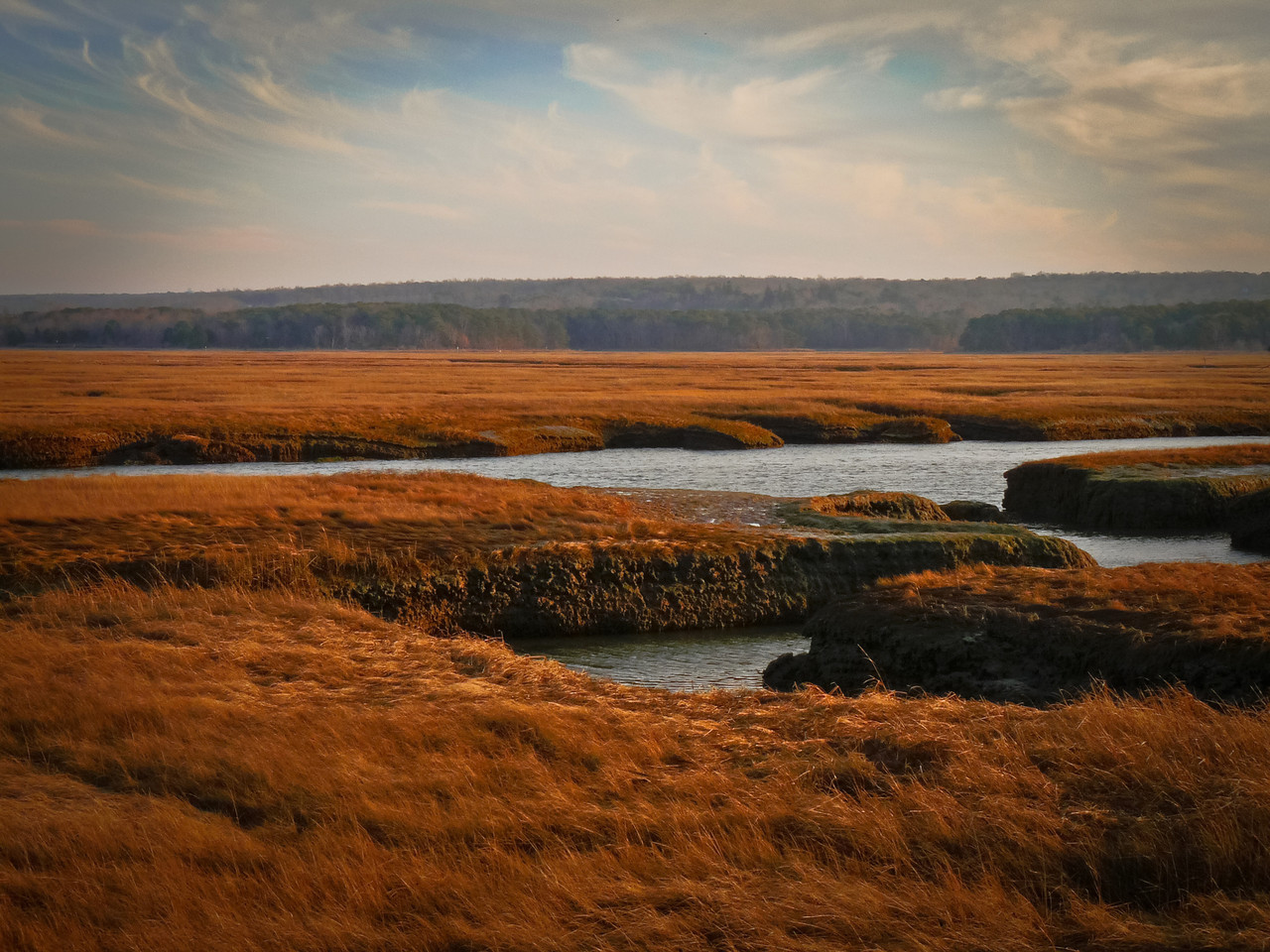 Sandwich marsh lands leading to the ocean.