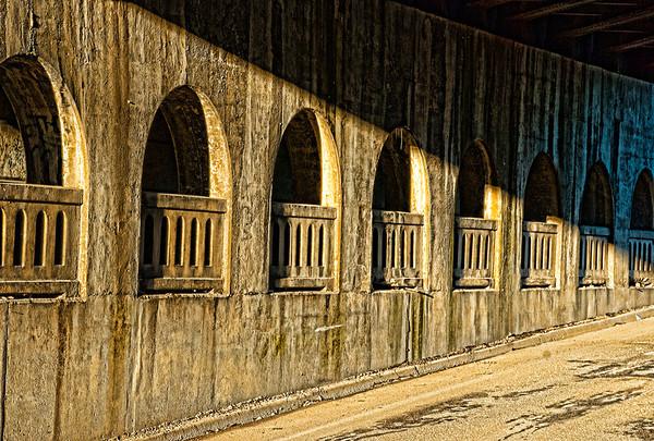Railroad underpass walkway and street
