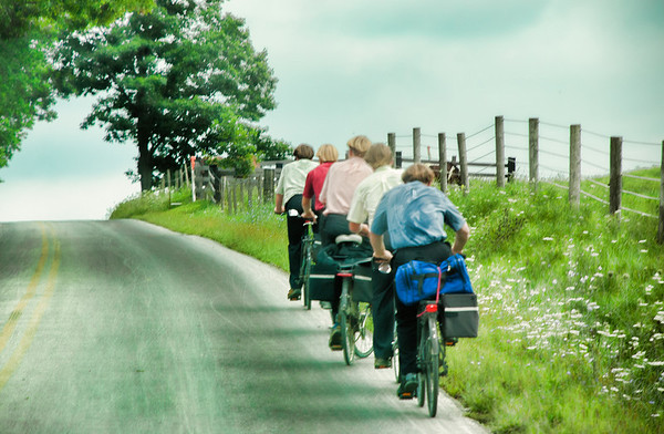 """Sept 11 - Amish boys peddling uphill<br /> <br /> I love all the colors of their shirts and the single line they formed!  It was a hot day but I am sure they got to where they were going!<br /> <br /> Thanks so much for your comments on my """"Share the Road"""" image I posted yesterday!  They are so much apppreciated."""