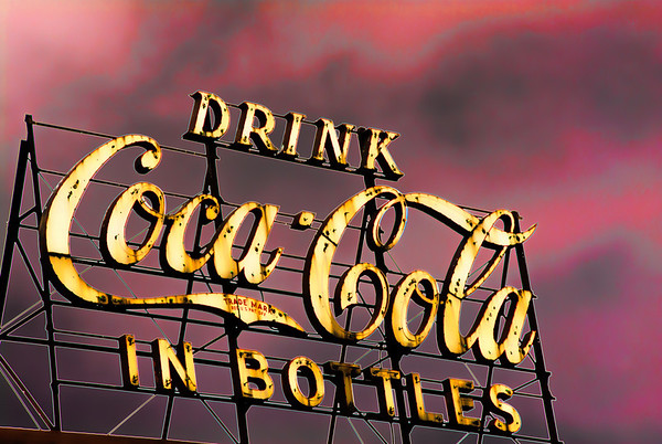 Aug 28 - Coca Cola<br /> <br /> I saw this old sign above a coke distributer and then tried some different pp until I ended up with this!<br /> <br /> Thanks for your comments on my bird on a red tin roof image yesterday!