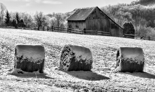 Jan 7 - Country Cold<br /> <br /> Another barn image I shot in the same area as the one I posted yesterday.  I decided to process it as a black and white and I am pleased with it.  The other image had a small amount of color in the yellow hay bale and old wooden wheel tacked to the barn wall.  These hay bales had little color due to my position to the sunshine.  So I thought it would work better in black and white.