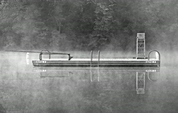 July 9 - Lake Swimming Platform<br /> <br /> The early morning light and fog made the platform appear as if it was floating on air instead of water.<br /> <br /> Thanks so much for your comments on my Pelican Huddle image I posted yesterday!