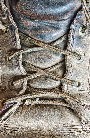 """June 29 - The Letter """"X"""" for the daily community alphabet challenge - the boot laces on my husband's old boots :)<br /> <br /> Thanks for your nice comments on my glowing  grass image I posted yesterday!"""