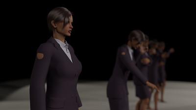 Business Woman Scene Multiple Rigging CGI Render 3