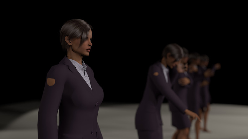 Business Woman Scene Multiple Rigging CGI Render 2