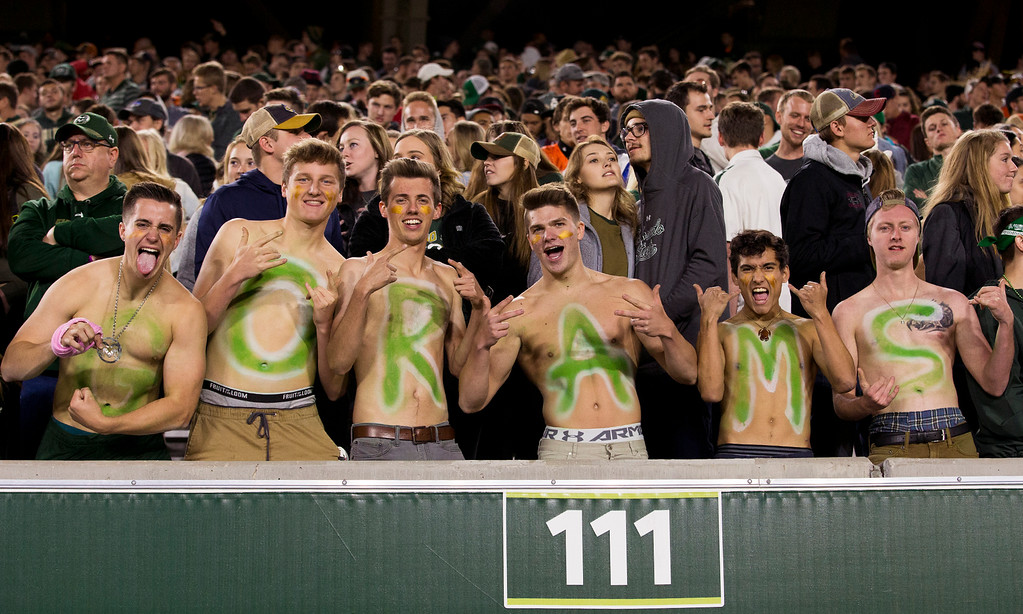 . Colorado State fans show their team spirit during the game against Wyoming Friday evening Oct., 26 2018 at Canvas Stadium in Fort Collins. (Michael Brian/For the Reporter-Herald)