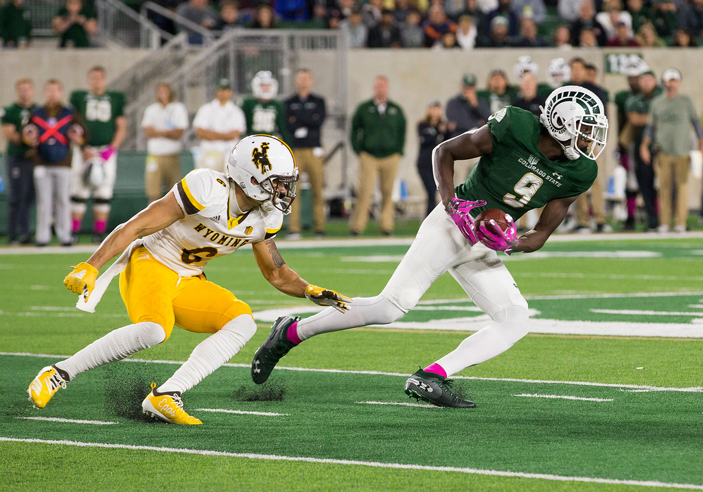 . Colorado State wide receiver Warren Jackson (9) gets loose in the Wyoming secondary Friday evening Oct., 26 2018 at Canvas Stadium in Fort Collins. (Michael Brian/For the Reporter-Herald)