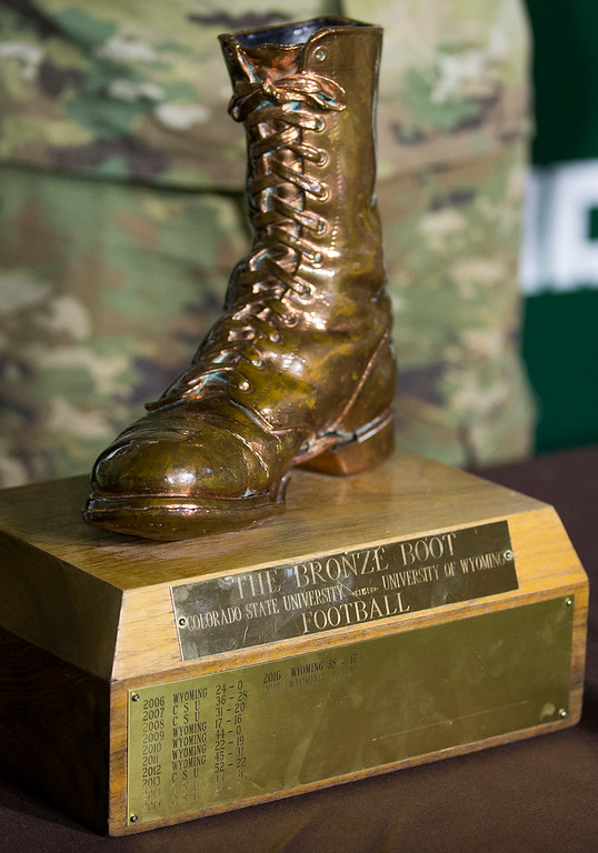. ROTC students stand gaurd over the Bronze Boot as Colorado State takes on Wyoming Friday evening Oct., 26 2018 at Canvas Stadium in Fort Collins. (Michael Brian/For the Reporter-Herald)
