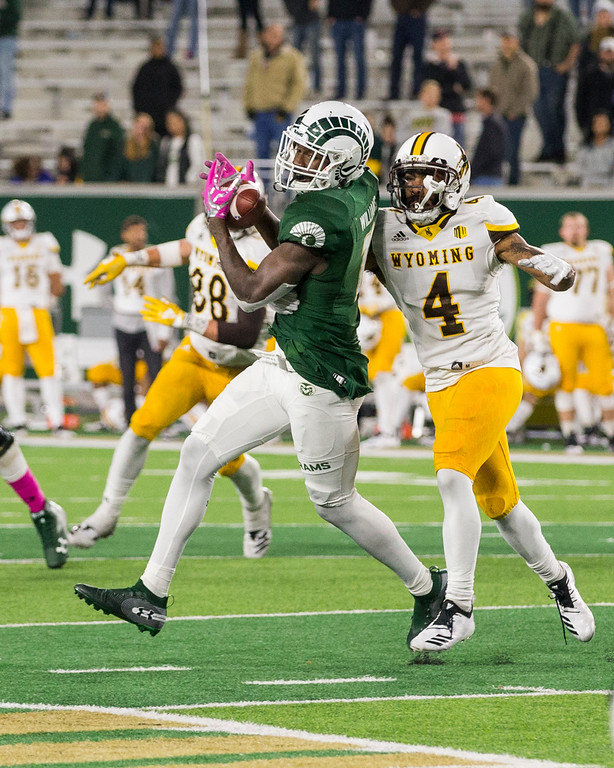 . Colorado State wide receiver Preston Williams (11) hauls one in late in the game against Wyoming Friday evening Oct., 26 2018 at Canvas Stadium in Fort Collins. The Rams fell, 34-21. (Michael Brian/For the Reporter-Herald)