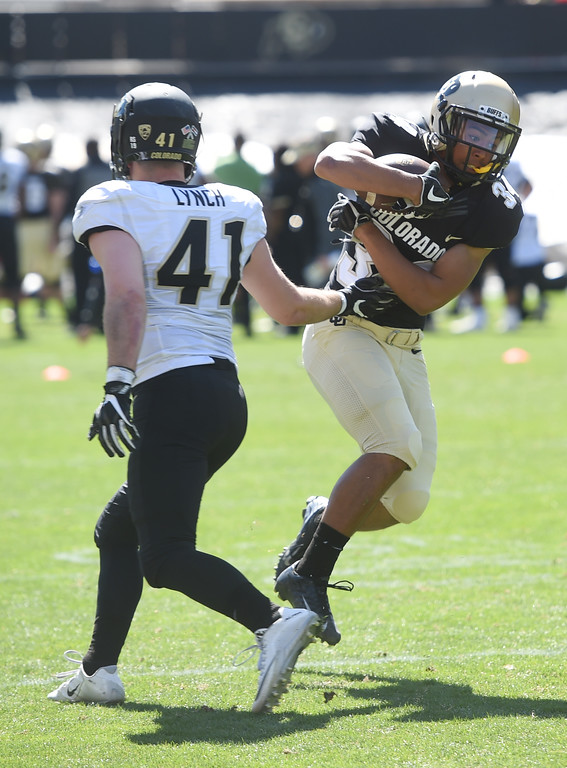 . Noa Lukela gets past Devin Lynch during the CU Spring football festivities on Saturday.  Cliff Grassmick  Photographer  March 17, 2018