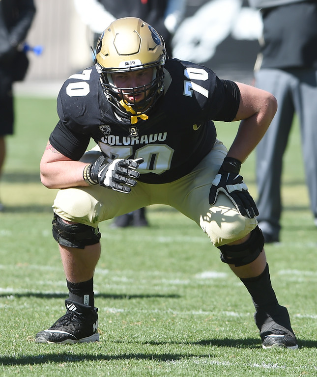 . Jake Moretti plays during the CU Spring football festivities on Saturday.  Cliff Grassmick  Photographer  March 17, 2018