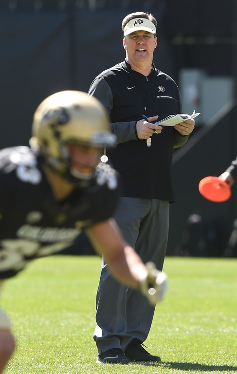 . Head coach, Mike MacIntyre, during the CU Spring football festivities on Saturday.  Cliff Grassmick  Photographer  March 17, 2018