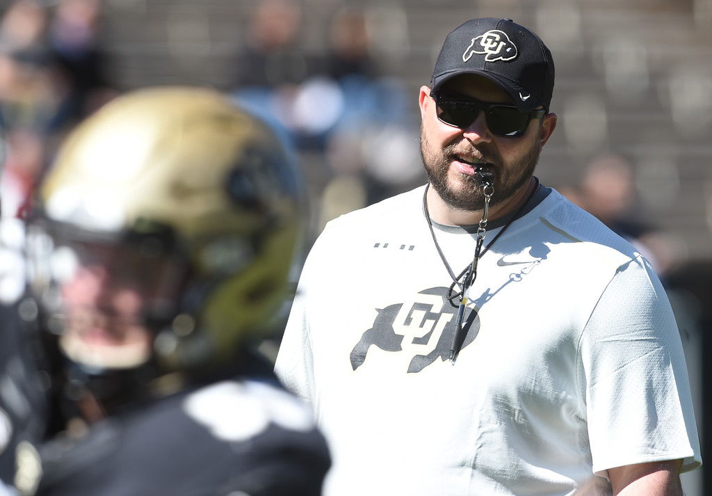 . Assistant coach, Klayton Adams during the CU Spring football festivities on Saturday.  Cliff Grassmick  Photographer  March 17, 2018