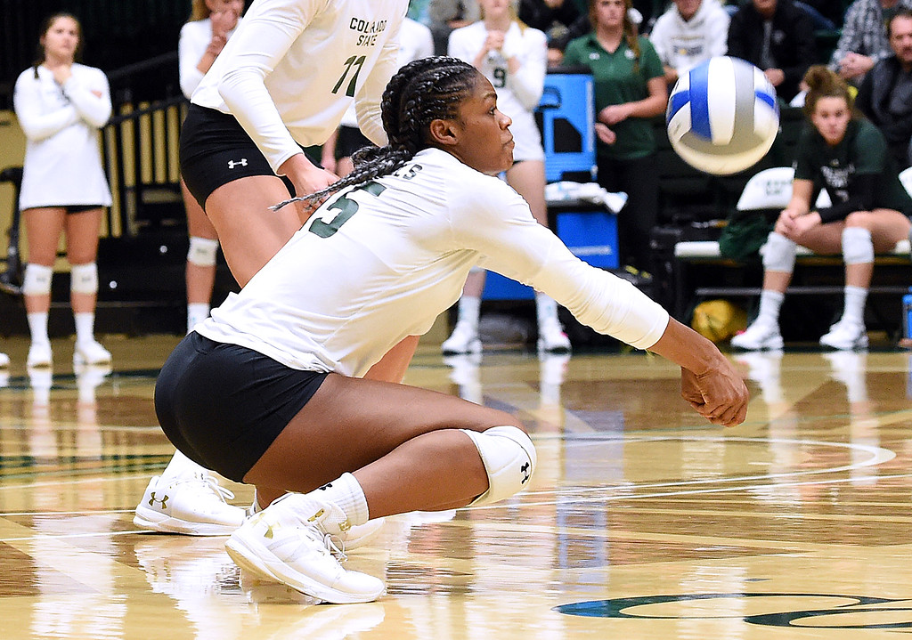 . Colorado State\'s Breana Runnels hits a digger during their game against Wyoming on Tuesday, Oct. 30, 2018, at Moby Arena in Fort Collins.  (Photo by Jenny Sparks/Loveland Reporter-Herald)