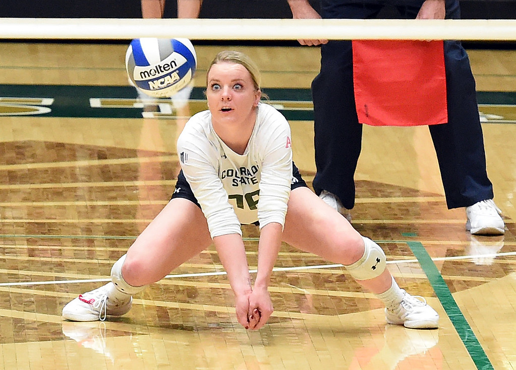 . Colorado State\'s Maddi Foutz hits a digger during their game against Wyoming on Tuesday, Oct. 30, 2018, at Moby Arena in Fort Collins.  (Photo by Jenny Sparks/Loveland Reporter-Herald)