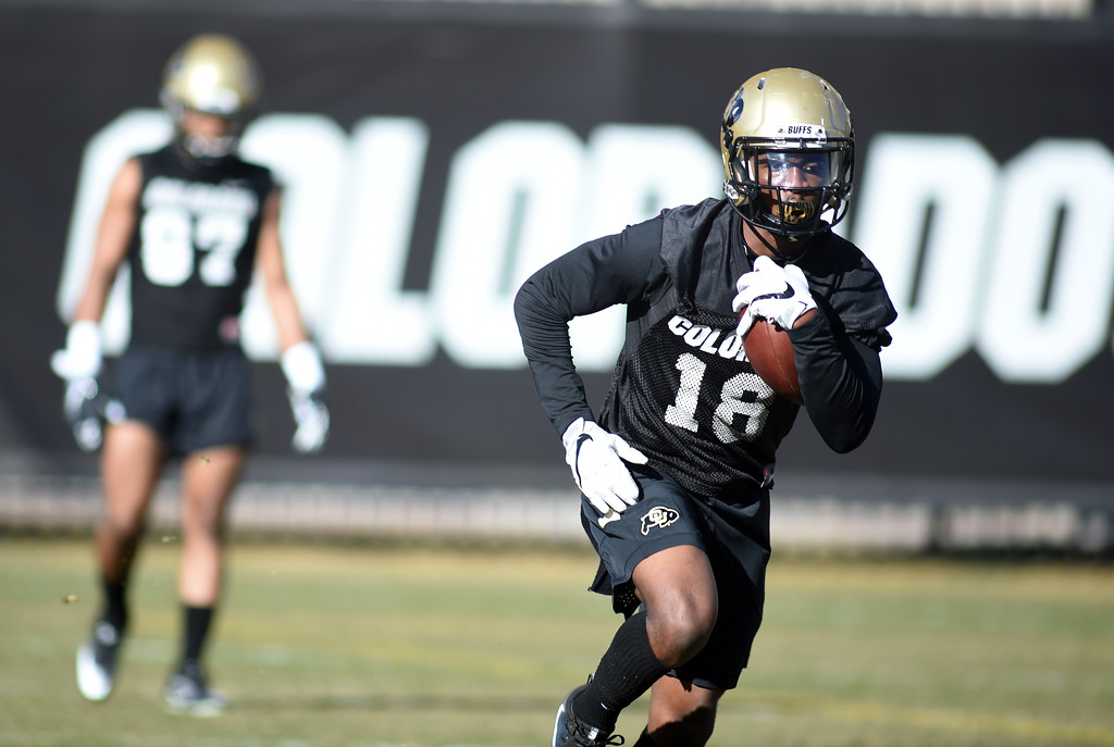 . Lee Walker works on pass catching drills during the first day of Spring football at the University of Colorado. For more photos, go to www.buffzone.com. Cliff Grassmick  Staff Photographer  February 22, 2017