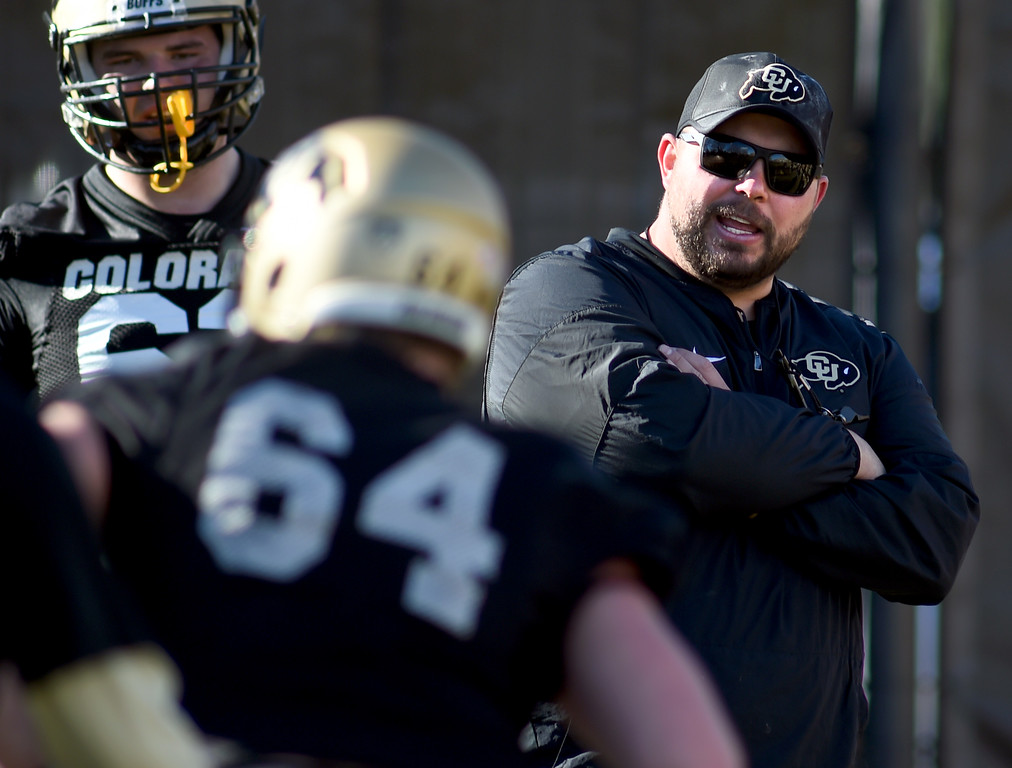 . Offensive line coach, Klayton Adams, during the first day of Spring football at the University of Colorado. For more photos, go to www.buffzone.com. Cliff Grassmick  Staff Photographer  February 22, 2017