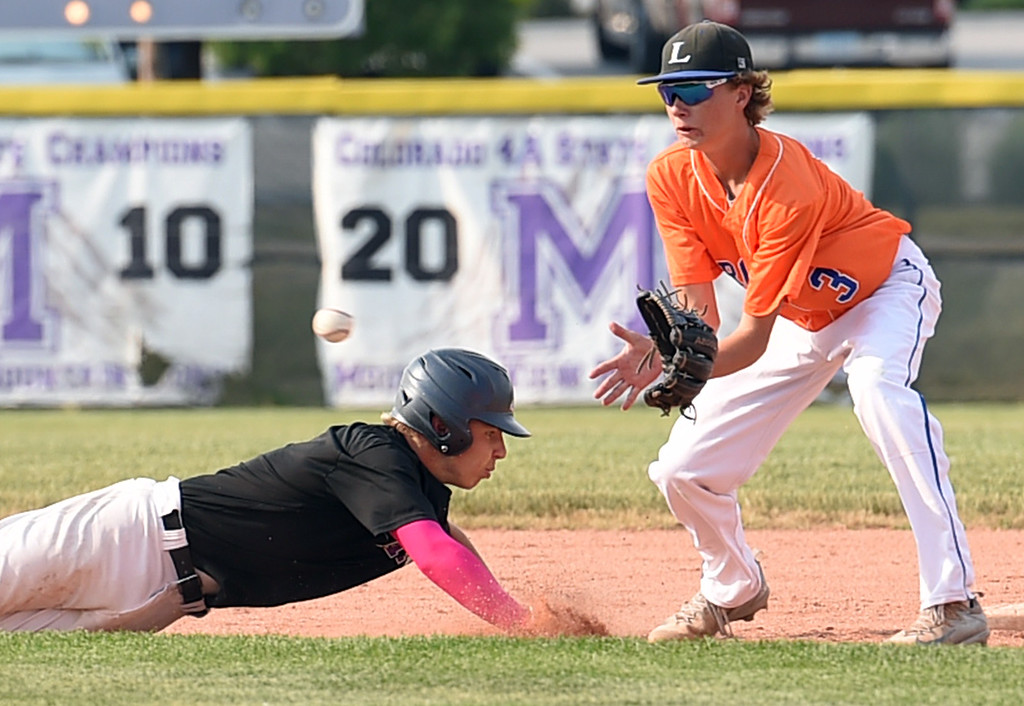 . Mountain View\'s (2) Jaron Davis gets back to second base as Longmont/Erie\'s (3) catches the ball Tuesday, June 27, 2017, during their game at Brock Field in Loveland. (Photo by Jenny Sparks/Loveland Reporter-Herald)