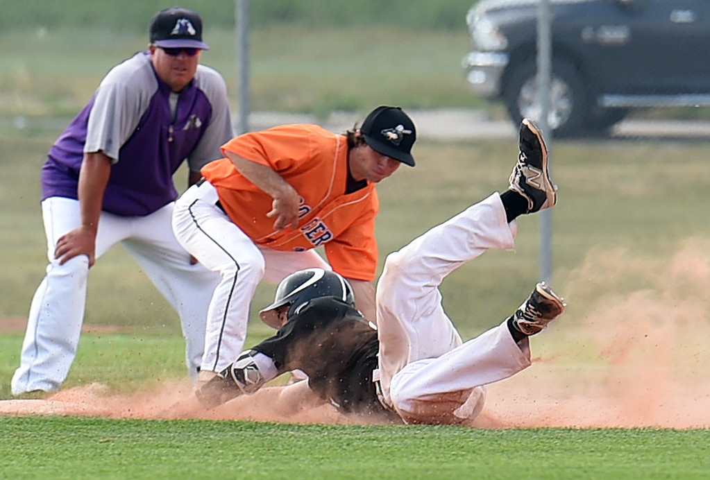 . Mountain View\'s (8) Colter Williams slides into third base Tuesday, June 27, 2017, during their game against Longmont/Erie at Brock Field in Loveland. (Photo by Jenny Sparks/Loveland Reporter-Herald)