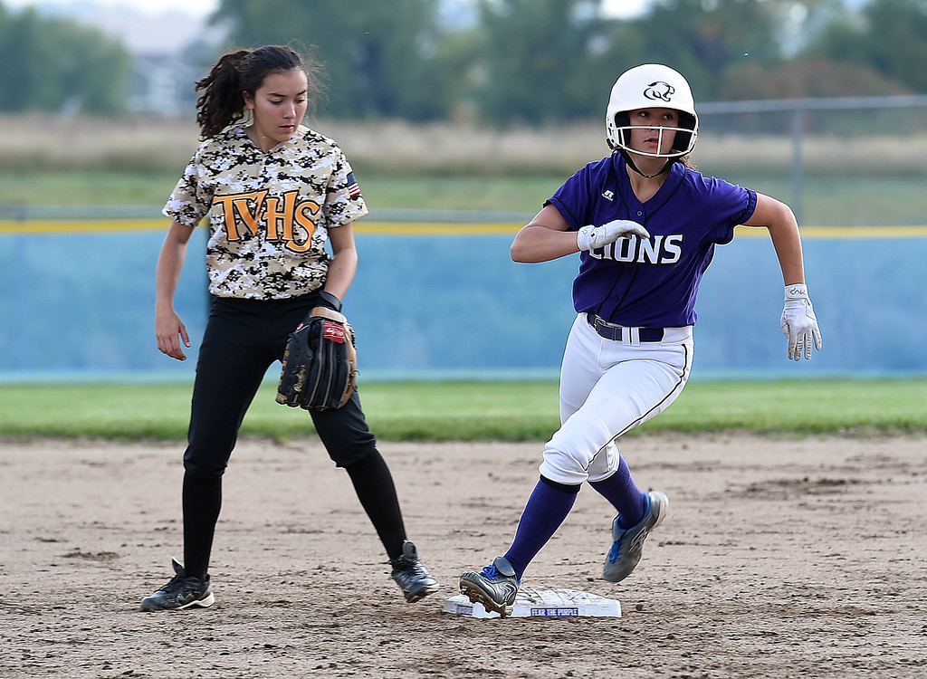 . Mountain View\'s (2) Aliyah McComas rounds the bases Tuesday, Sept. 26, 2017, during their game against Thompson Valley at Mountain View in Loveland.  (Photo by Jenny Sparks/Loveland Reporter-Herald)