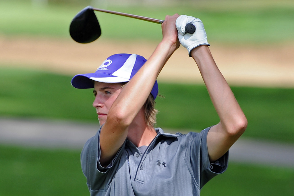 . Mountain View\'s Justin Grundy watches his tee shot on the 12th hole during the 4A Region 3 Tournament at the Olde Course at Loveland on Wednesday, Sept. 19, 2018. (Sean Star/Loveland Reporter-Herald)