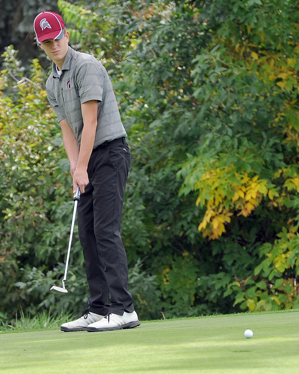 . Berthoud\'s Cameron Poll watches a putt on the 11th hole during the 4A Region 3 Tournament at the Olde Course at Loveland on Wednesday, Sept. 19, 2018. (Sean Star/Loveland Reporter-Herald)