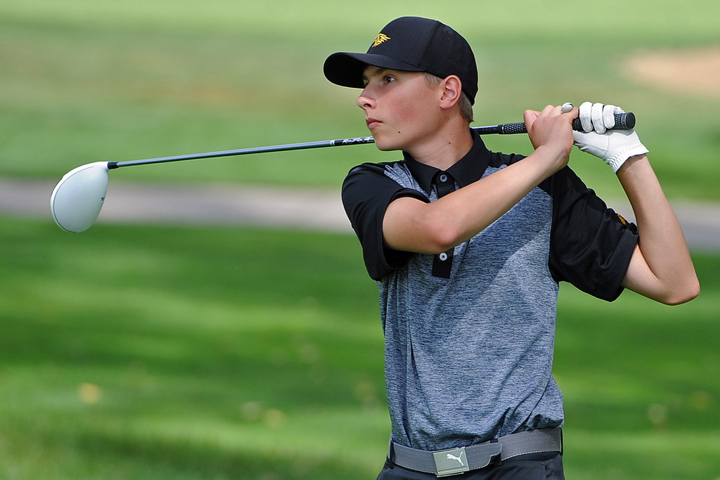 . Thompson Valley\'s Dylan Malone watches his tee shot on the 12th hole during the 4A Region 3 Tournament at the Olde Course at Loveland on Wednesday, Sept. 19, 2018. (Sean Star/Loveland Reporter-Herald)