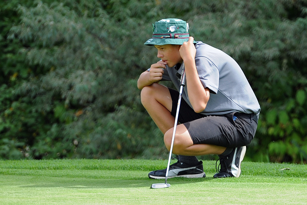 . Mountain View\'s Drew Visocky lines up a putt on the 11th hole during the 4A Region 3 Tournament at the Olde Course at Loveland on Wednesday, Sept. 19, 2018. (Sean Star/Loveland Reporter-Herald)