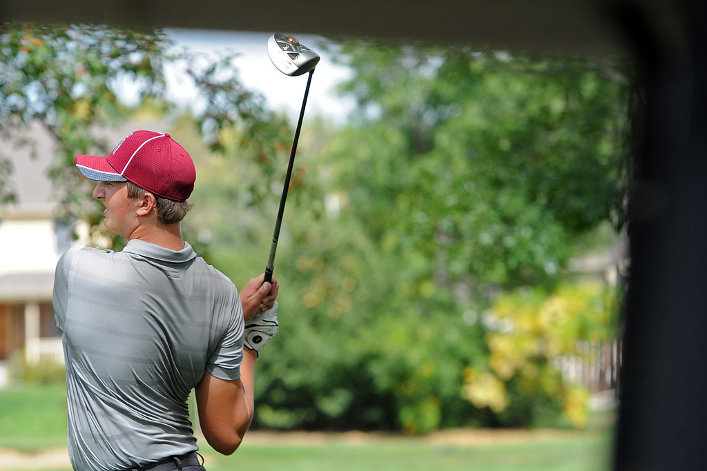 . Berthoud\'s Caleb Schumacher watches his tee shot on the 12th hole during the 4A Region 3 Tournament at the Olde Course at Loveland on Wednesday, Sept. 19, 2018. (Sean Star/Loveland Reporter-Herald)