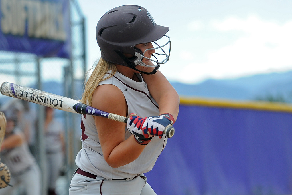 . Berthoud\'s Natalie Fischer takes a swing during a game Tuesday, September, 11, 2018 at Holy Family High School in Broomfield, Colorado. (Sean Star/Loveland Reporter-Herald)