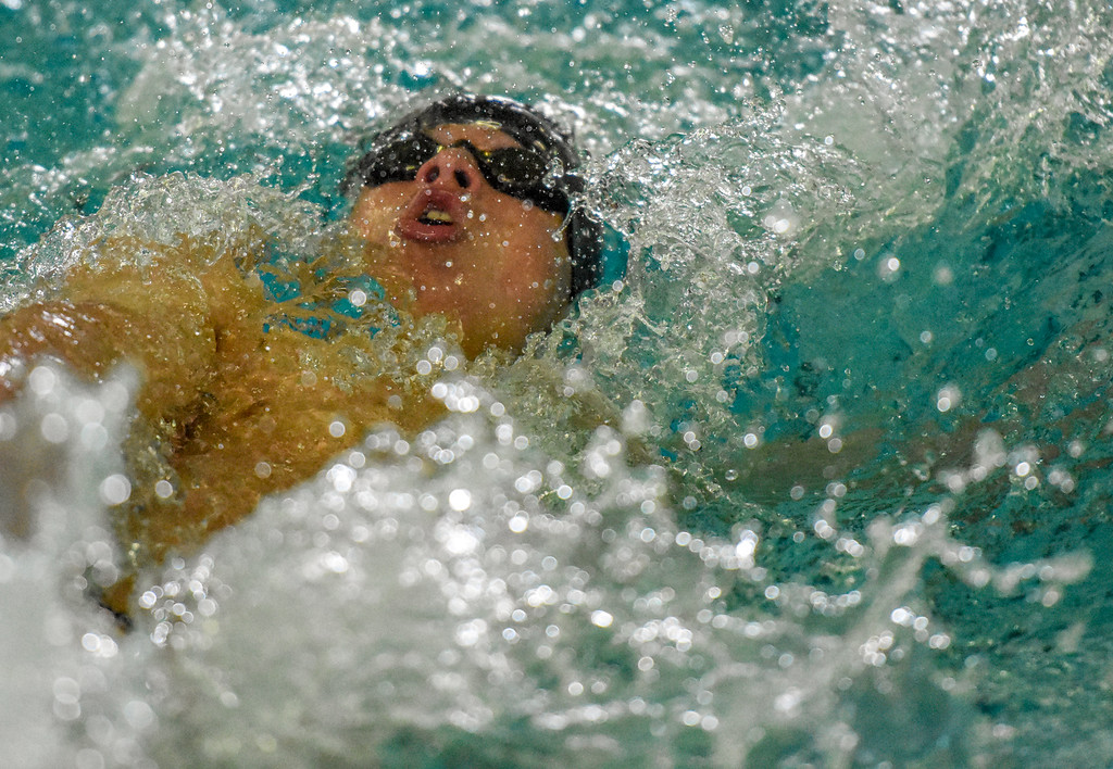 . Loveland\'s Gavin Quinlan swims the 100-yard backstroke during the City Swim Meet on Wednesday April 11, 2018 at the MVAC. (Cris Tiller / Loveland Reporter-Herald)