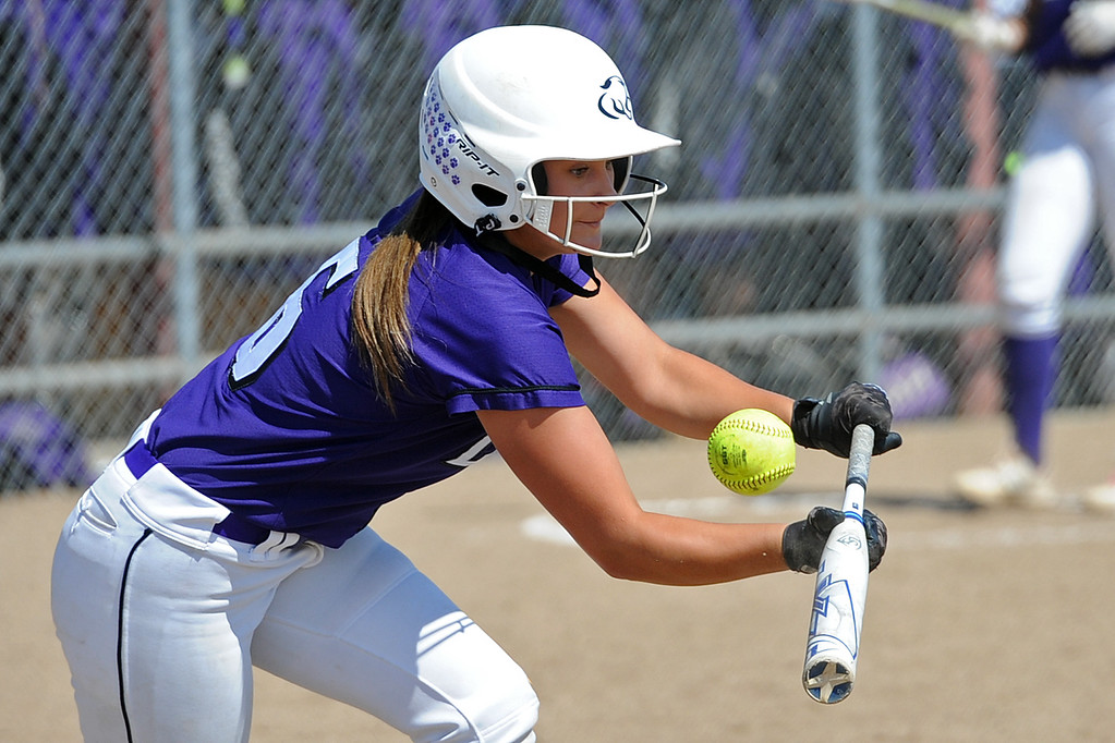 . Mountain View\'s Morgan Jewell fouls off a bunt during a game Saturday, Sept. 8, 2018 at Mountain View High School in Loveland. (Sean Star/Loveland Reporter-Herald)
