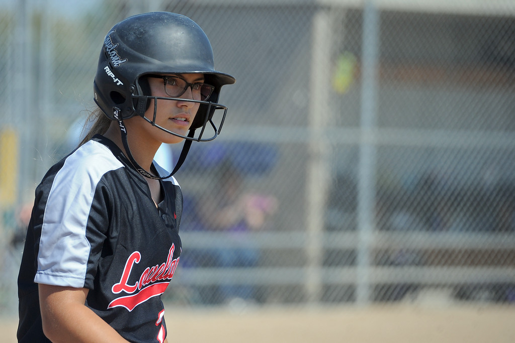 . Loveland\'s Laurin Krings waits in the on-deck circle during a game Saturday, Sept. 8, 2018 at Mountain View High School in Loveland. (Sean Star/Loveland Reporter-Herald)