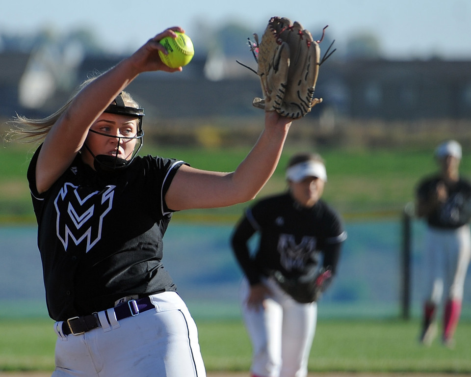 . Mountain View\'s Bailey Carlson delivers a pitch during a game Thursday, Oct. 4, 2018 at Mountain View High School. (Sean Star/Loveland Reporter-Herald)
