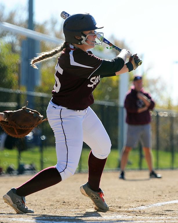 . Berthoud\'s Sarah Jorissen follows through on a swing during the first day of the 4A state softball tournament on Friday, Oct. 19, 2018 at Aurora Sports Park. (Sean Star/Loveland Reporter-Herald)