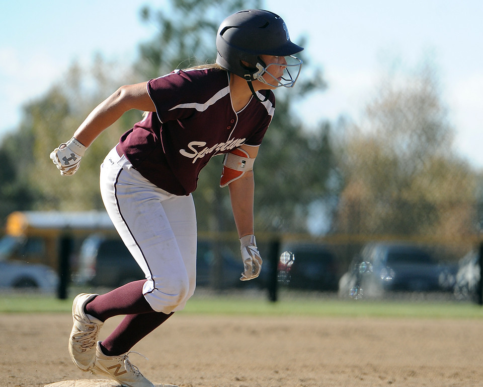 . Addi Spears takes a lead off third base during the first day of the 4A state softball tournament on Friday, Oct. 19, 2018 at Aurora Sports Park. (Sean Star/Loveland Reporter-Herald)